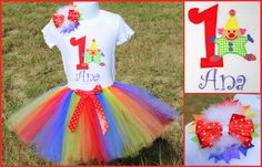 Clown or Circus Birthday Set. Visit www.facebook.com/PrincessWiggleBottom to see more!