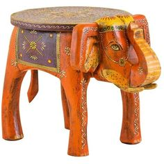 Hand Painted Elephant Side Table ($205) ❤ liked on Polyvore featuring home, furniture, tables, accent tables, elephant end table, elephant side table, elephant table and handpainted furniture