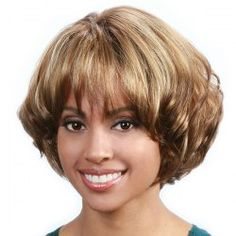Fashion Blonde Mixed Brown Capless Stunning Short Fluffy Wavy Full Bang Synthetic Wig For Women