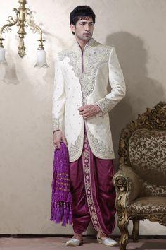 White Banarasi Ghicha Silk Readymade Dhoti Kurta Online Shopping: MCD1484
