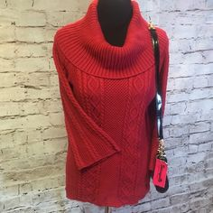CROFT AND BARROW RED COWL NECK SWEATER Beautiful sweater in gently used condition. Cowl neck sleeves are wider at the bottom.. Croft & Barrow Sweaters Cowl & Turtlenecks