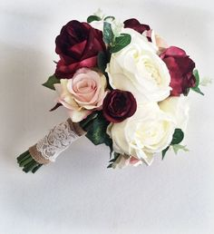 Marsala burgundy ivory silk bridal bouquet by Lovefromlilywedding