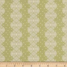 Make Do and Mend Lace Stripe Green from @fabricdotcom  Designed by Michele D'Amore for Benartex, this cotton print fabric is perfect for quilting, apparel and home decor accents. Colors include off white and green. The stripe runs parallel to the selvedge as pictured.