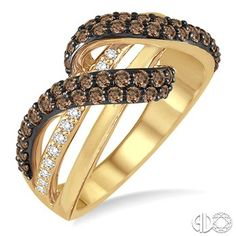 1 Ctw Round Cut White and Champagne Brown Diamond Ring In 14K Yellow Gold