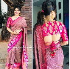 pattu saree blouse designs 2019 Here are perfect Pattu Saree Blouse Designs Choose your silk saree blouse design from our list with latest trendy neck designs New Saree Blouse Designs, Blouse Designs Catalogue, Fancy Blouse Designs, Indian Blouse Designs, Saree Blouse Patterns, Sari Design, Designer Kurtis, Seda Sari, Blouse Sexy