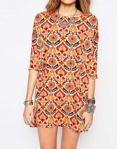 Image 3 of Noisy May Tall Retro Floral Print Shift Dress