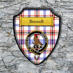 Boswell Plaque with Scottish Clan Badge on Clan Tartan Background by YourCustomStuff on Etsy https://www.etsy.com/listing/262768302/boswell-plaque-with-scottish-clan-badge