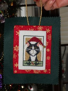 Val's Stitchin - Holiday Kitty Ornament