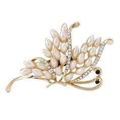 Neue Ankunft Korea Elegante Brosche Strass Exquisite Luxus Perle Schmetterling Braut Brosche Frauen Hochzeit