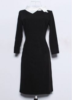 Generous Brief Three Quarter Sleeve Black Sheath Dress with cheap wholesale price, buy Generous Brief Three Quarter Sleeve Black Sheath Dress at wholesaleitonline.com !