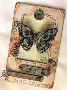 sarascloset: Tim Holtz Mixed Media Panel With Altered Embellishment Tips For Frilly and Funkie Steampunk Cards, Timmy Time, Lesage, Handmade Tags, Distressed Painting, Artist Trading Cards, Card Tags, Atc Cards, Mixed Media Canvas