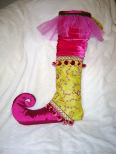 christmas stocking whimsical hot pink chartreuse by luludeelights, $70.00