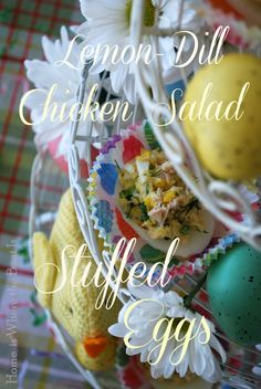 Lemon-Dill Chicken Salad Stuffed Eggs served in cupcake liners~