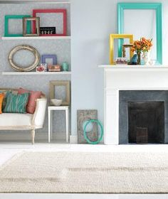 TIP: Use empty picture frames to create visually striking geometric patterns against a wall.