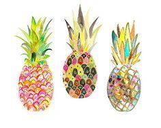 Pineapple Print. 12 x 12 Print. Illustration. Watercolor.