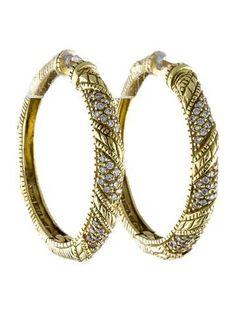 ca17c0a80 Judith Ripka 18K Diamond Hoop Earrings Round Cut Diamond, Round Diamonds,  Judith Ripka,