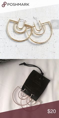 """UO 18k-Plated Geo Hoop Earrings Cool geometric hoop earrings from Urban Outfitters plated in 18-kt gold. Soft gold tone metal, best represented by 1st photo. Brand new. 2"""" wide. Urban Outfitters Jewelry Earrings"""