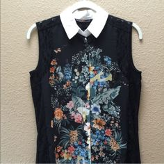 "NWOT DEX Floral Print Sleeveless Button Down Top Black multi colored floral print with lace around sleeves and down side. Hi/lo style with 28"" front, and 29.5"" back. White collar button down. So pretty! Never worn. Dex Tops Button Down Shirts"