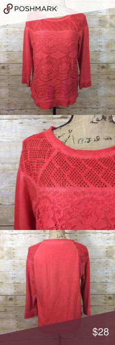 """Lucky Brand Crochet Crewneck Sweatshirt Beautiful orange sweatshirt with crochet and lace accents. This is from the exclusive """"lucky bliss"""" line from lucky brand. 100% cotton. Size medium. Perfect to throw on over something on chilly summer nights and can be transitioned as a fall and winter piece too. Make an offer or bundle to save 30%! Lucky Brand Tops Sweatshirts & Hoodies"""
