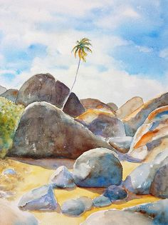 The Baths Palm Tree watercolor painting by Carlin Blahnik.  Large boulders are scattered on this tropical beach. The golden sand glows, recently dampened by the warm ocean. A single palm tree rises up to a blue sky and puffy clouds. The palm fronds sway easily with the tropical breezes. The Baths is an area located on the island of Virgin Gorda among the British Virgin Islands, BVI, in the Caribbean. I have been fortunate to explore this area more than once. http://www.carlinart.com/