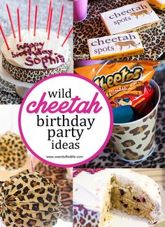 Super Simple Cheetah Birthday Party Ideas Cheetah birthday party ideas: Great ideas for cheetah themed invitations, party decorations, cake, party favors, and fun cheetah games to play. Cheetah Birthday Cakes, Leopard Birthday Parties, Cheetah Party, 6th Birthday Parties, Birthday Party Decorations, Birthday Ideas, 8th Birthday, Kid Parties, Daughter Birthday