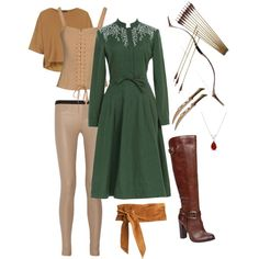 Tauriel-Inspired Mirkwood Warrioress by midna555 on Polyvore featuring Oh My Corset!, Topshop, Helmut Lang, ALDO and Allurez