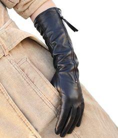 WARMEN Luxury Gift Women Genuine Nappa soft Leather lined long elbow Gloves (L, Black)