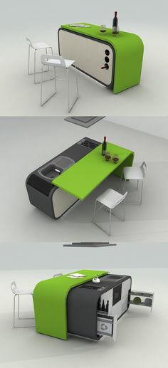 Kitchen, Magnificent And Multifunctional Compact Kitchen Design For Your Kitchens Decor Inspiration: Beautiful Innovative Green Compact Kitc...