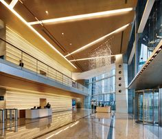 lobby of the International Commerce Center in Kowloon, Hong Kong; designed by Kohn Pedersen Fox