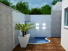 Decoration of modern terraces with various decorative elements - Piscina Small Swimming Pools, Small Backyard Pools, Small Pools, Swimming Pools Backyard, Swimming Pool Designs, Small Patio, Backyard Landscaping, Patio Chico, Kleiner Pool Design