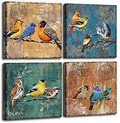Bird Canvas Wall Art for Bedroom 12 x 12 4 Pieces Rustic Wall Decor Animal Picture Framed Artwork Vintage Theme Prints Paintings Ready to Hang for Home Bathroom Kitchen Office Decorations Canvas Artwork, Framed Artwork, Canvas Wall Art, Rustic Wall Decor, Rustic Walls, Picture Wall Living Room, Bird Canvas, 3d Wall Art, Vintage Theme