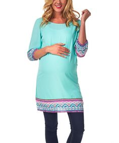 Look at this PinkBlush Maternity Mint Green Tribal-Trim Maternity Boatneck Tunic on #zulily today!
