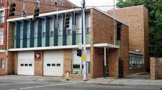 Front and side facade. Engine Co. No. 5. by Garriott and Becker, Modernist style, Cincinnati, Ohio.