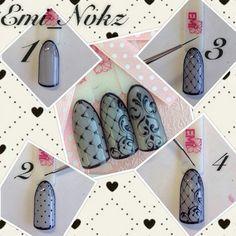 More and More Pin: Nails Nail Designs Bling, Pretty Nail Designs, Nail Art Designs, Lace Nails, Red Nails, Hair And Nails, Gorgeous Nails, Pretty Nails, Gothic Nails