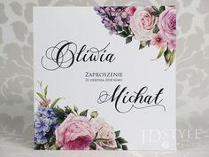 Zaproszenia ślubne kwiatowe z różami i hortensjami FL-34 Place Cards, Place Card Holders