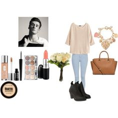 Date w/ Oli White by veronica-love-one-direction on Polyvore featuring H&M, Topshop, Acne Studios, MICHAEL Michael Kors, Clinique, MAC Cosmetics, Lord & Berry, claire's, Maybelline and OKA