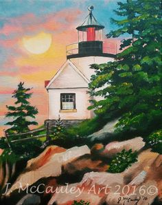 """Bass Harbor Lighthouse, Maine. 11x14"""" acrylic painting on stretched canvas."""