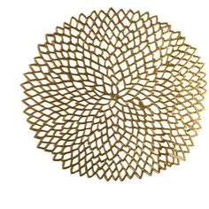 Chilewich Pressed Vinyl Dahlia Round Placemat - Brass ($21) ❤ liked on Polyvore featuring home, kitchen & dining, table linens, metallic, chilewich placemats, round lace placemats, vinyl placemats, vinyl table linens e round place mats