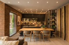 25 veces he visto estas estupendas cocinas comedor. Dining Room Design, Interior Design Kitchen, Interior Decorating, Kitchen Dining Living, Kitchen Decor, Studio Loft, Small Apartment Interior, Sala Grande, Sweet Home