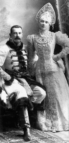 Prince and Princess Yusupov in old Russian costume for the 1903 costume ball at the Winter Palace. This was the last great imperial ball given before the Revolution.