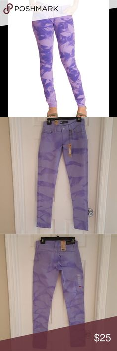 """Levi's 524 super low tie dyed purple jeans NWT Levi's 524 Too Superlow purple tie dyed jeans, skinny fit, some stretch, 98% cotton 2% elastane NWT Flat lay Waist 14"""" Rise 7"""" Inseam 31"""" Levi's Jeans Skinny"""