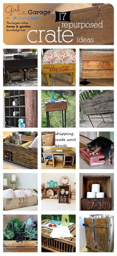 17 Repurposed Crate Ideas - Curated by Girl in the Garage for Hometalk.  Includes links to tutorials for all of these projects!