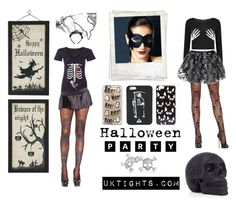 """""""Halloween Inspiration: Skulls"""" by uktights ❤ liked on Polyvore featuring Leg Avenue, Boohoo, Polaroid, ASOS, Casetify, UNIF and Bling Jewelry"""