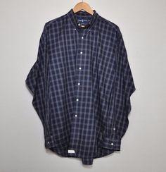Ralph Lauren Blake L/S Cotton Shirt Men's XL Blue Plaid Polo Pony EUC #RalphLaurenBlake #ButtonFront