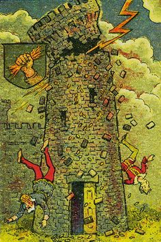 The Tower (The Fire from Heaven) - Knapp-Hall Tarot by J. A. Knapp