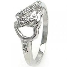 Bejeweled Interlocking Heart Promise Ring
