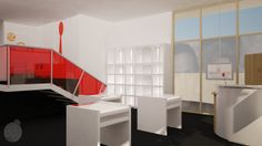 Recepción, Sala de exhibición e ingreso a mezzanine, Local Comercial