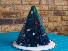 Retro Folded Paper Tabletop Christmas Tree | FaveCrafts.com