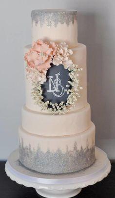 Pink Chalkboard wedding cake