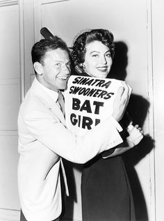 """vintagesonia: """" Frank Sinatra and Ava Gardner pose together with a sign that reads, """"Sinatra Swooners Bat Girl"""". The Swooners were Sinatra's charity baseball team, which was made up of MGM contract..."""